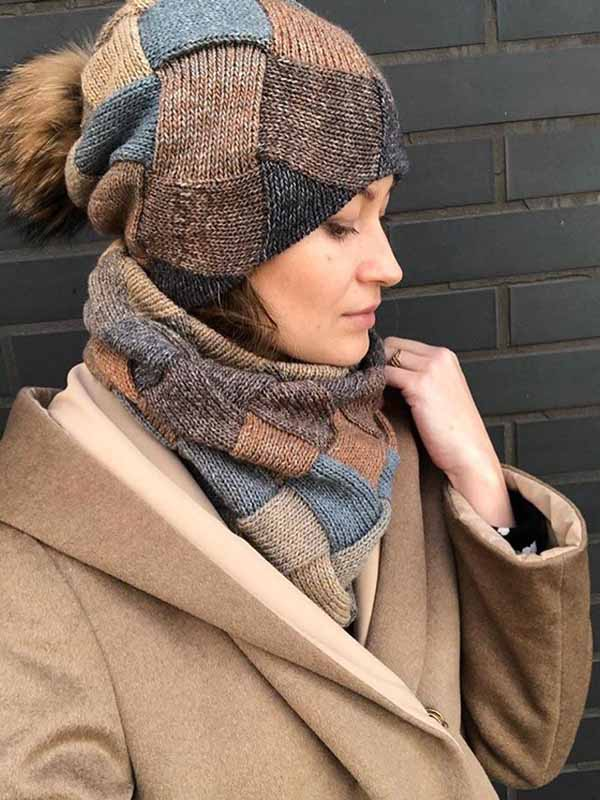 Damen New Brown Winter Strickmütze