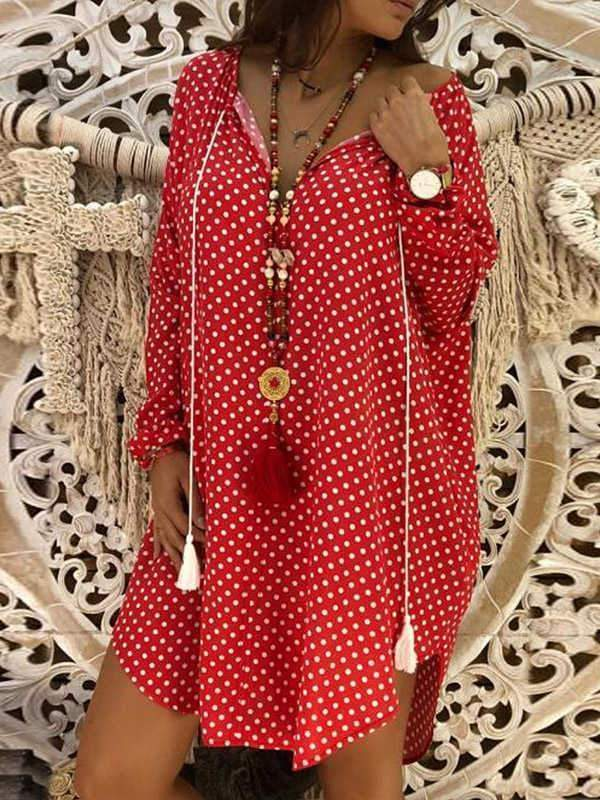 novelarrival.com Plus Size Dress Red / L Plus Size Cotton Linen Dot V-Neck Dress