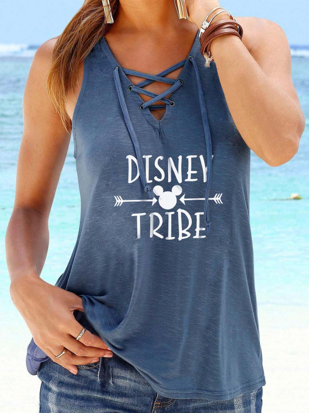 Disney Print V-Neck Weste Top mit Riemen