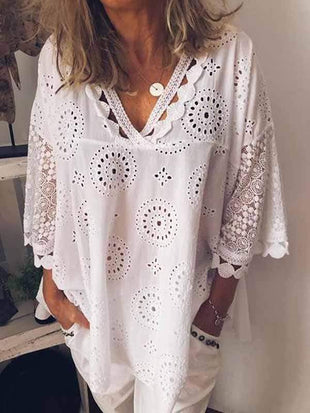 novelarrival.com Plus Size Tops White / S Plus Size Hollow Embroidery Shirt