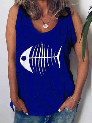novelarrival.com Plus Size Tops Blue / S Fish Head Print Vest