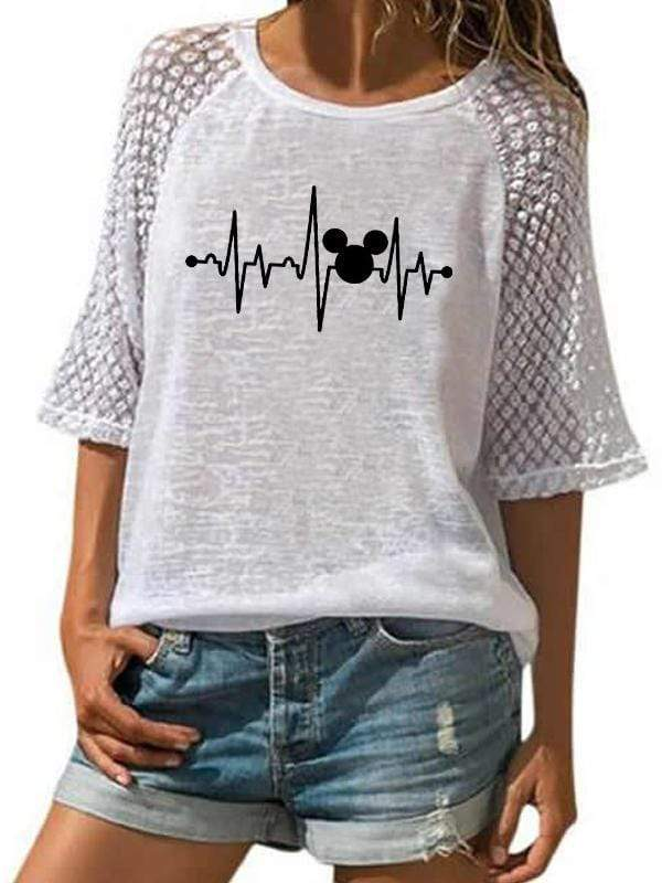 Mickey Mouse ECG T-shirt TOPS