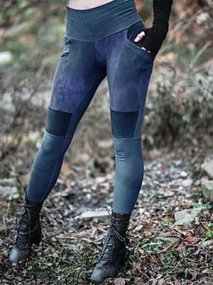 Frauen Retro hohe Taillen-Stitching Stretch Leggings