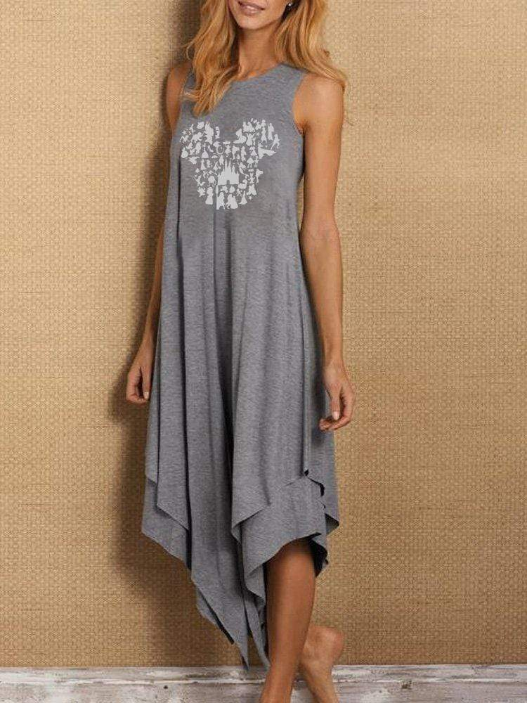 Disney Asymmetrical Hem Sleeveless Dress