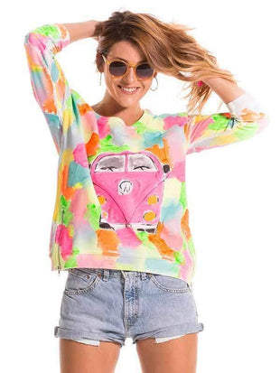 novelarrival.com Plus Size Tops Tie-Dyed Car Print Sweater