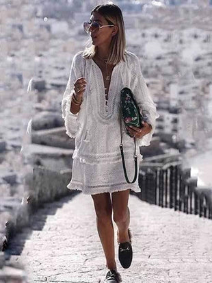 V Neck Casual Vacation Dress