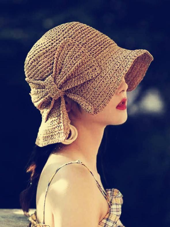 novelarrival.com hat Coffee Bow-Knot Folding Straw Hat