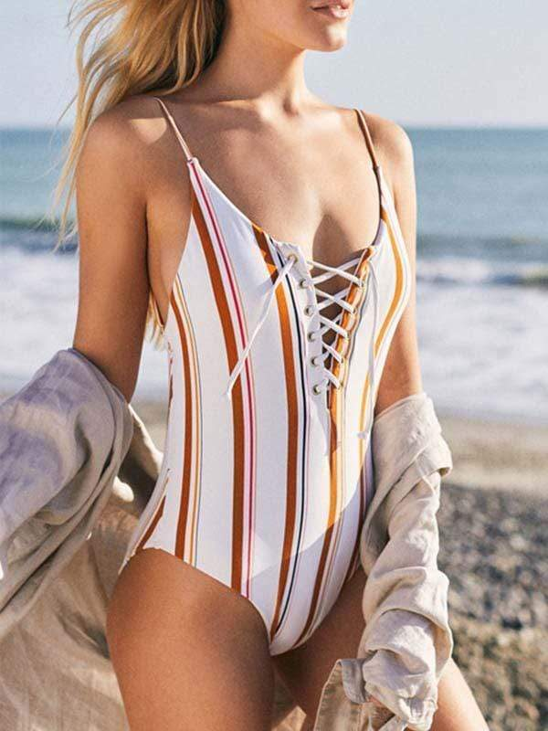 novelarrival.com One-Piece Stripe / S Striped Lace-Up Backless One-Piece Swimsuit