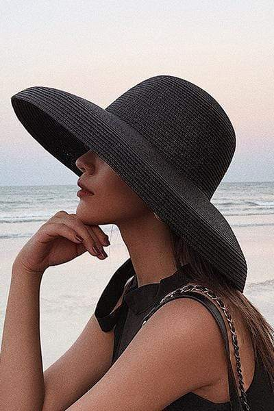 novelarrival.com Hat Black / One Size Hepburn Style Wide Brim Beach Sun Straw Hat