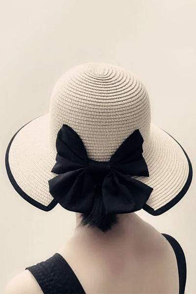 novelarrival.com Hat Beige / One Size Chic Bow-Knot Straw Hat