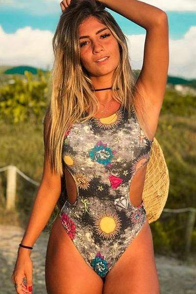 novelarrival.com One-Piece Floral / S Printed Waist Openwork One-piece Swimsuit