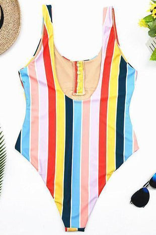 novelarrival.com One-Piece Iris / S Rainbow Striped One Piece Swimsuit