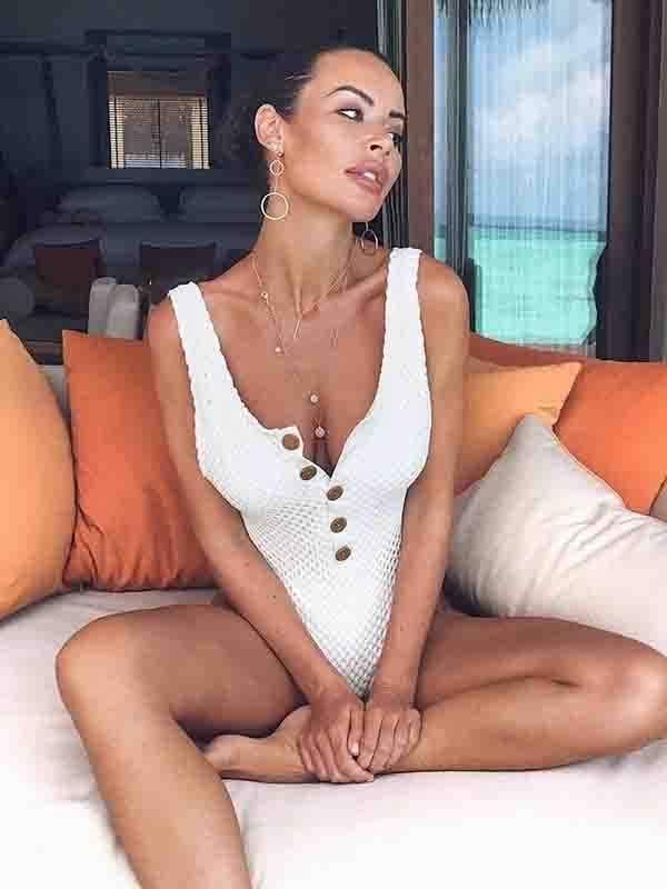 novelarrival.com One-Piece White / S Solid Color Mesh Button One-Piece Swimsuit
