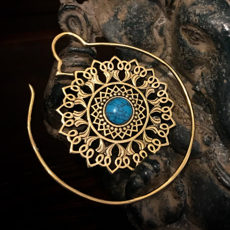 Brass and Turquoise Mandala Earring
