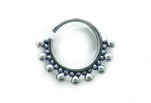 Silver Nine Point Septum Ring