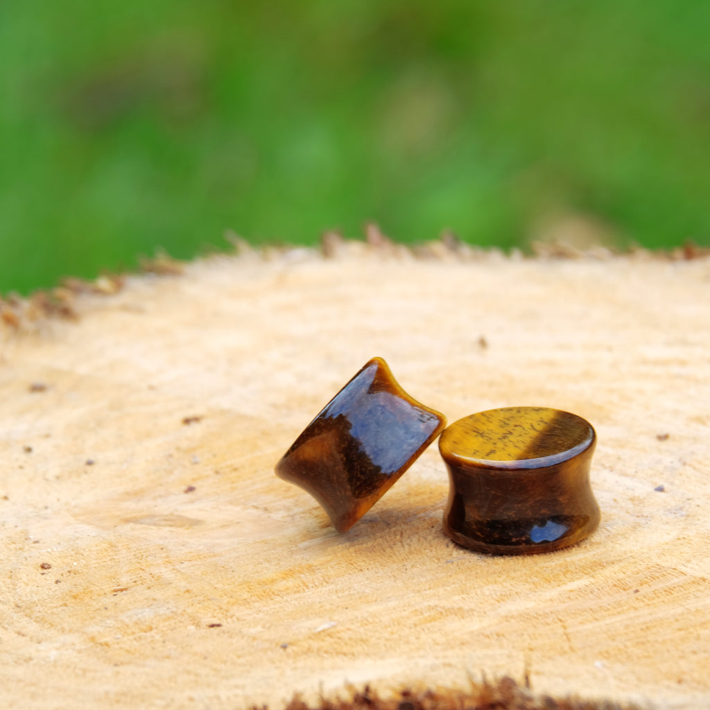 Natural Stone Plug - Tiger Eye