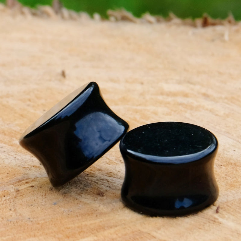 Natural Stone Plug - Black Agate
