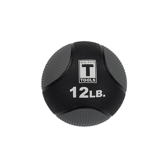 Rubber Medicine Ball - 12 Lb Black