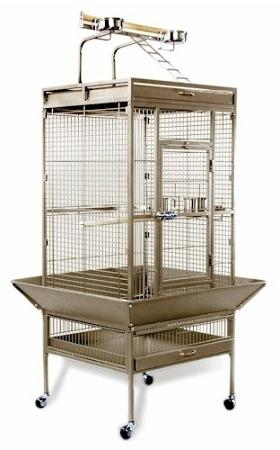Medium Wrought Iron Select Bird Cage - Black