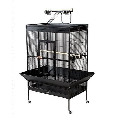 Select Wrought Iron Play Top Parrot Cage - Black