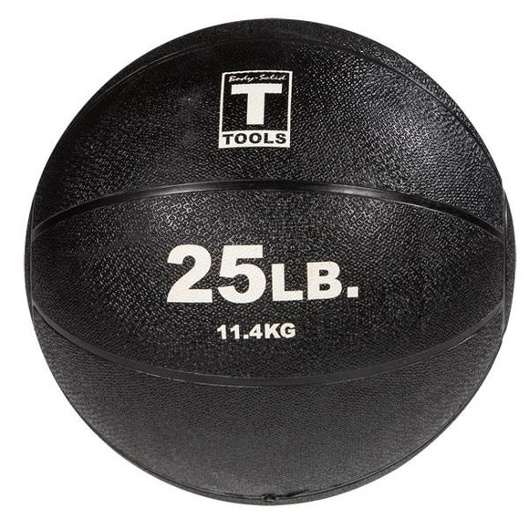 Rubber Medicine Ball - 25 Lb Black