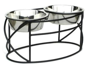 Oval Cross Double Raised Feeder - Large/Black