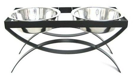 SeeSaw Double Elevated Dog Bowl - Large/Black