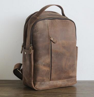 Men 100% Genuine Leather Laptop Backpacks Male Vintage Casual Backpacks Men's Travel Holder 14inch 15.6inch Computer School Bags