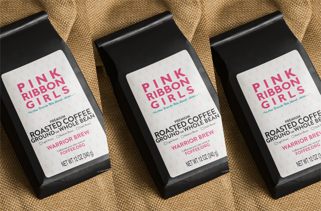 Pack 4: 3 bags Pink Ribbon Girls Coffee