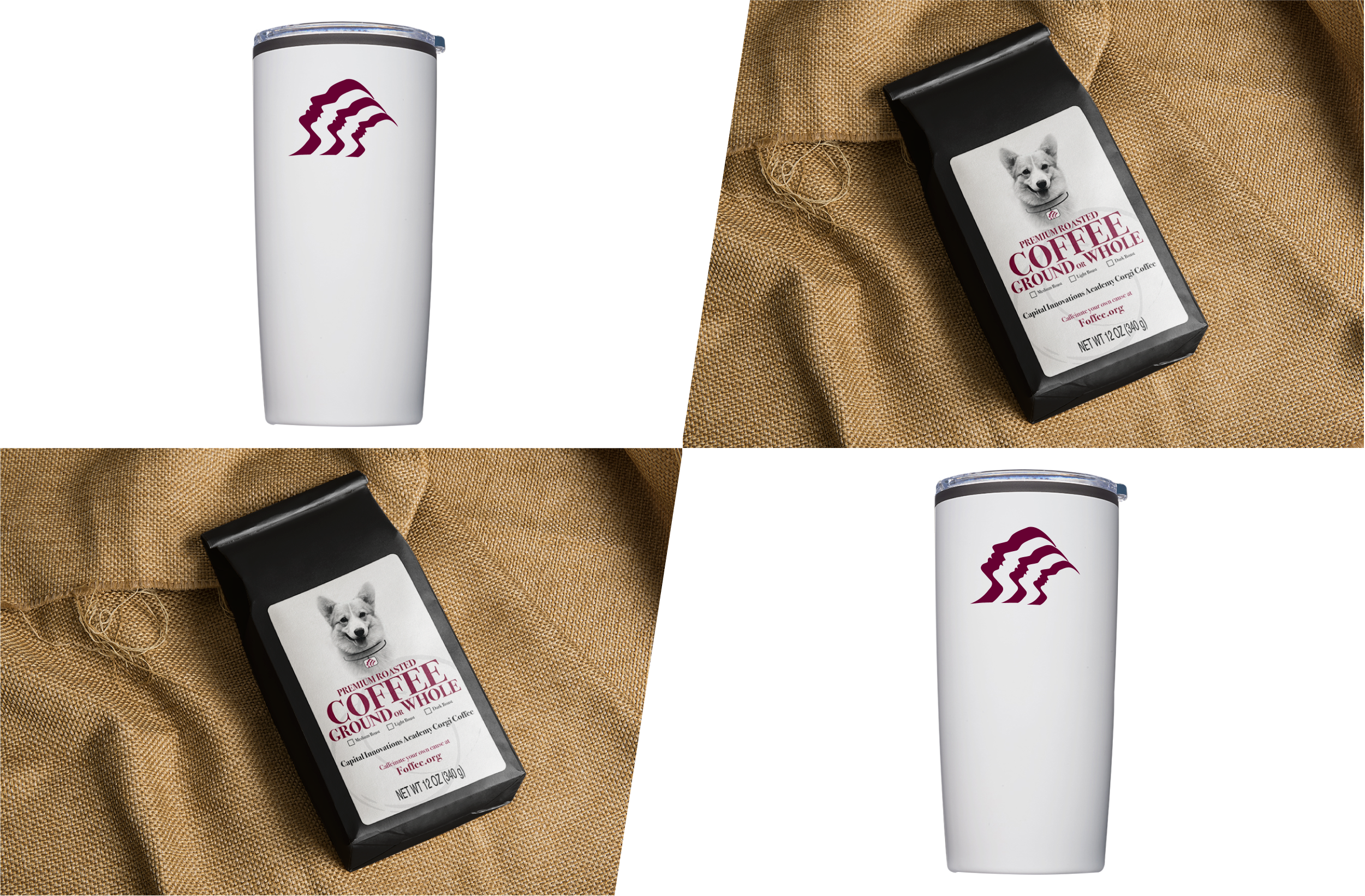 Pack 5: 2 Corgi Coffee, 2 Capital Innovations Tumblers