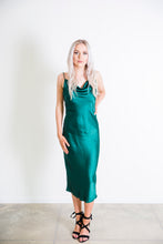 Load image into Gallery viewer, Cowl Neck Slip Dress - Emerald