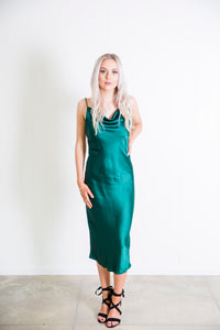 Cowl Neck Slip Dress - Emerald
