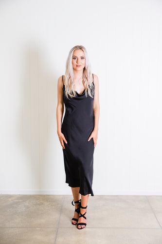 Cowl Neck Slip Dress - Black