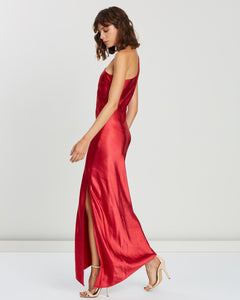 One Shoulder Slip Dress - Red