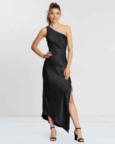 One Shoulder Slip Dress - Black