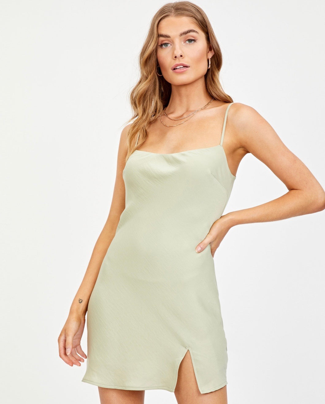 Satin Split Front Dress