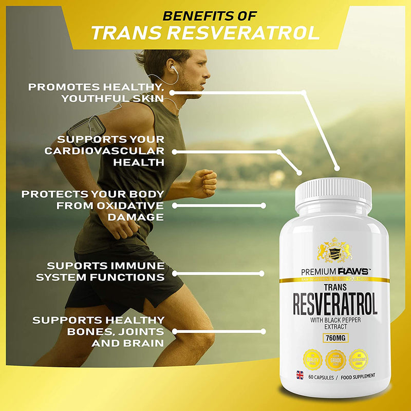Trans Resveratrol Capsules with Black Pepper Extract | Antioxidant Supplement