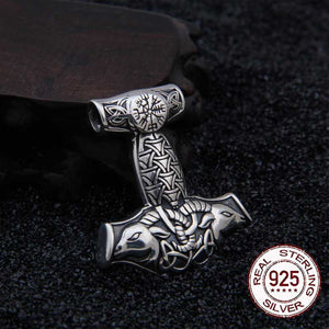 925 Sterling Silver Mjolnir Goat Pendant with real leather chain - Heathen Roots