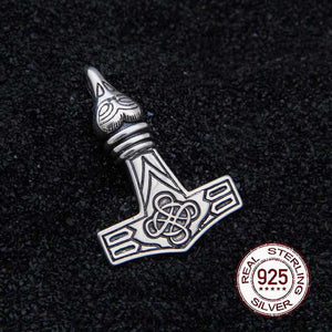 925 Sterling Silver Raven with Celtic knot Mjolnir with leather chain - Heathen Roots
