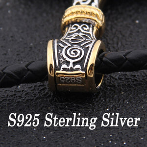 925 Sterling Silver Mjolnir pendant with real leather or steel chain - Heathen Roots