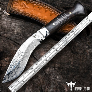 Hand-forged Damascus kukri knife - Heathen Roots