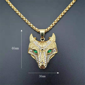 Nordic Diamond Wolf Head Necklace 316L Stainless Steel - Heathen Roots