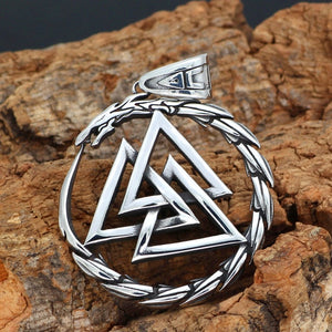 Odin's Valknut with Jormungandr Midgard Serpent Necklace ♦ 316L Stainless Steel ♦ - Heathen Roots