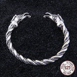 S925 Sterling Silver Norse Wolf Bangle oath ring - Heathen Roots