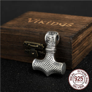 S925 Sterling Silver Thor's hammer Mjolnir pendant necklace with leather chain - Heathen Roots