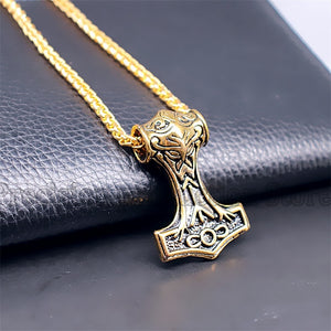 Gold Mjolnir Pendant Necklace - Heathen Roots