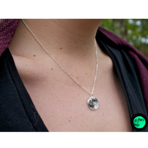 full Moon Glowing Necklace Glow in the Dark Moon - Heathen Roots