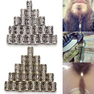 24 piece futhark runes for beards or hair - Heathen Roots