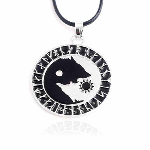 Odin's Wolves Sun Moon Pendant - Heathen Roots