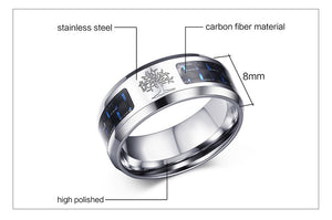 Carbon Fiber Ring Tree Of Life or Dad Stainless Steel Band - Heathen Roots